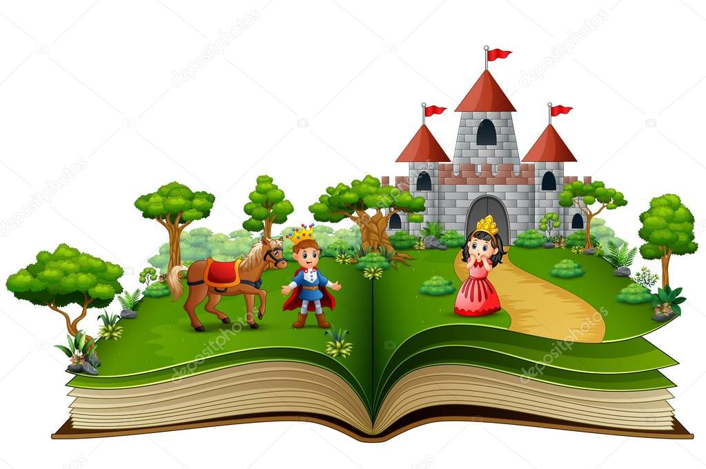Story book of princes and princesses in the royal courtyard
