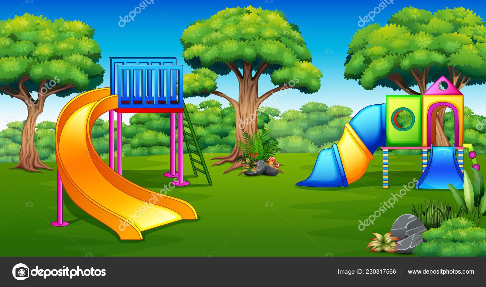 Illustration Der Spielplatz Garten Stockvektor Dualoro 230317566