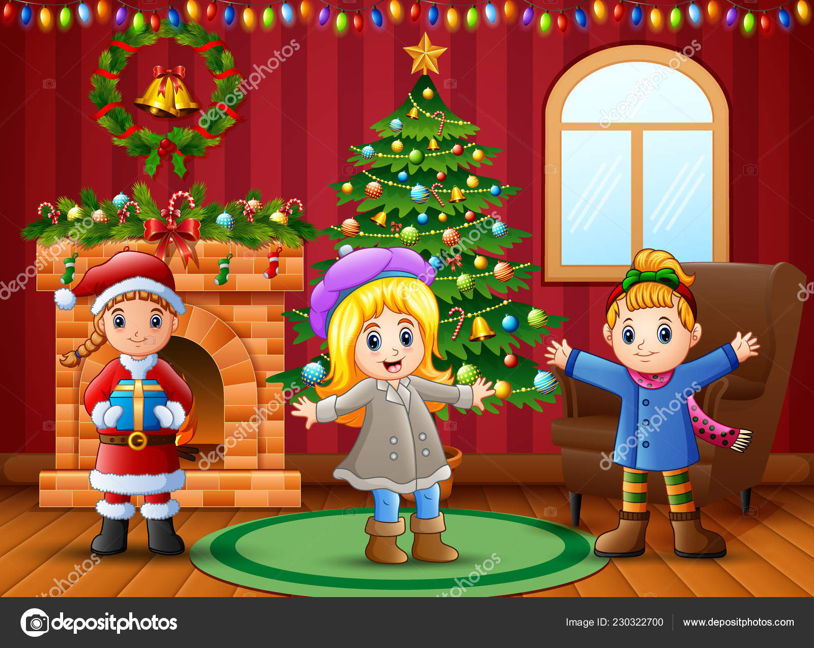 Cartoon Happy Kids Living Room Christmas New Year Decoration
