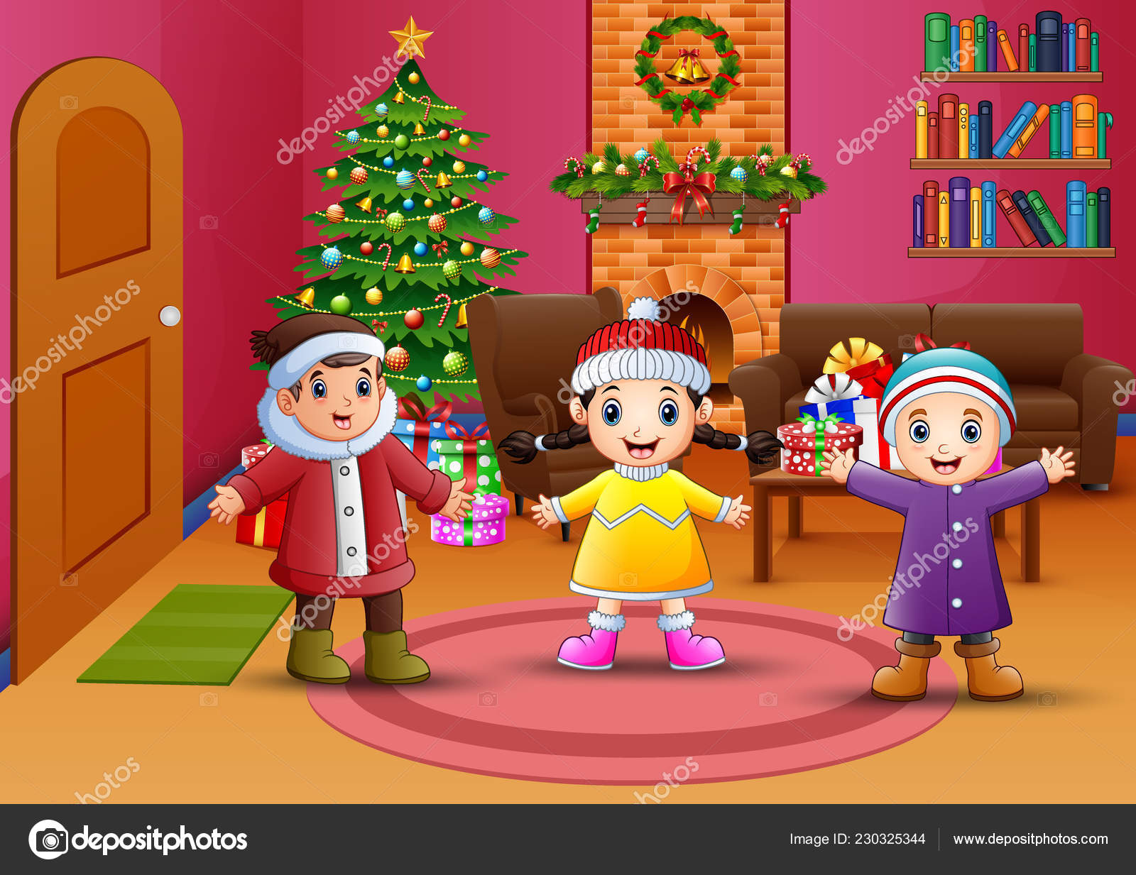 Happy Kids Celebration Christmas Living Room Stock Vector