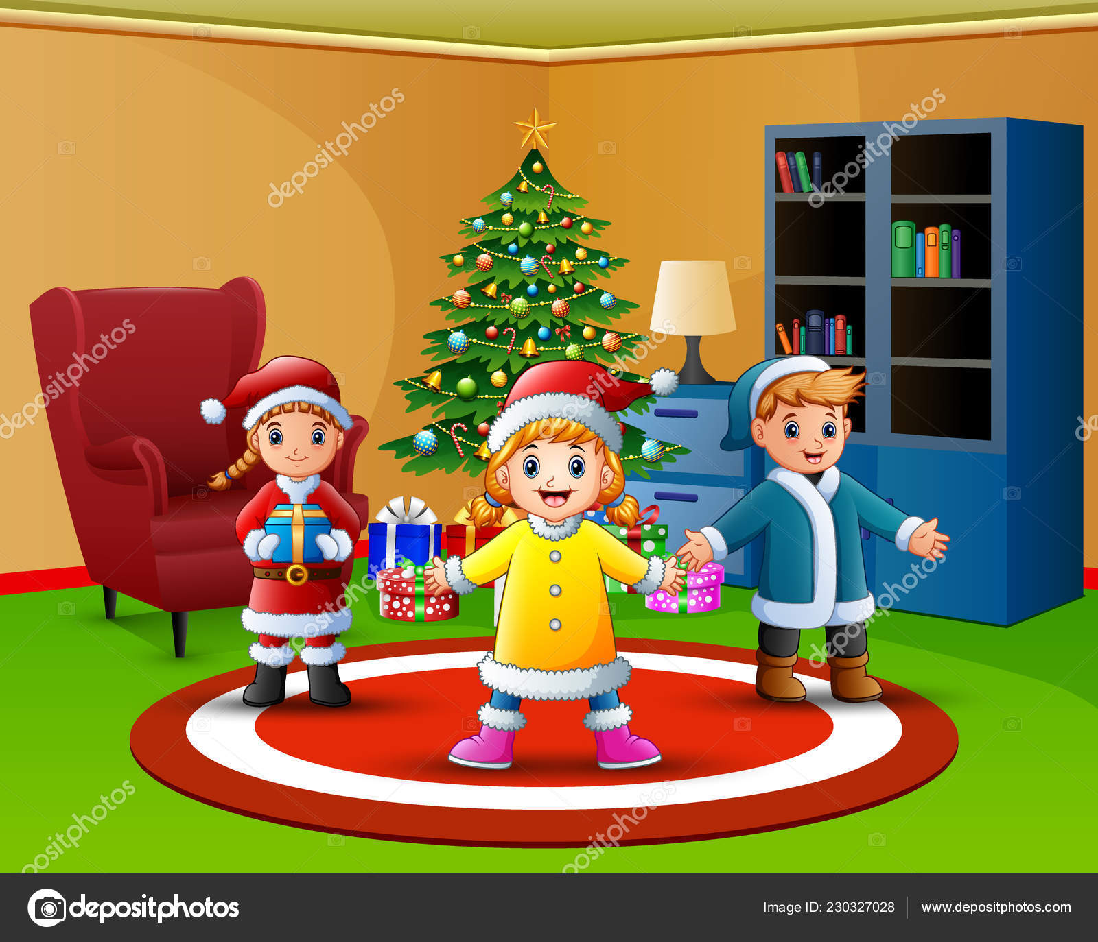 Cartoon Happy Kids Living Room Christmas Tree Stock Vector