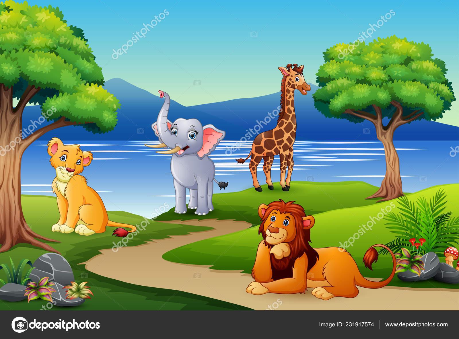 Happy Animals Cartoon Nature Scene — Stock Vector © dualoro 231917574