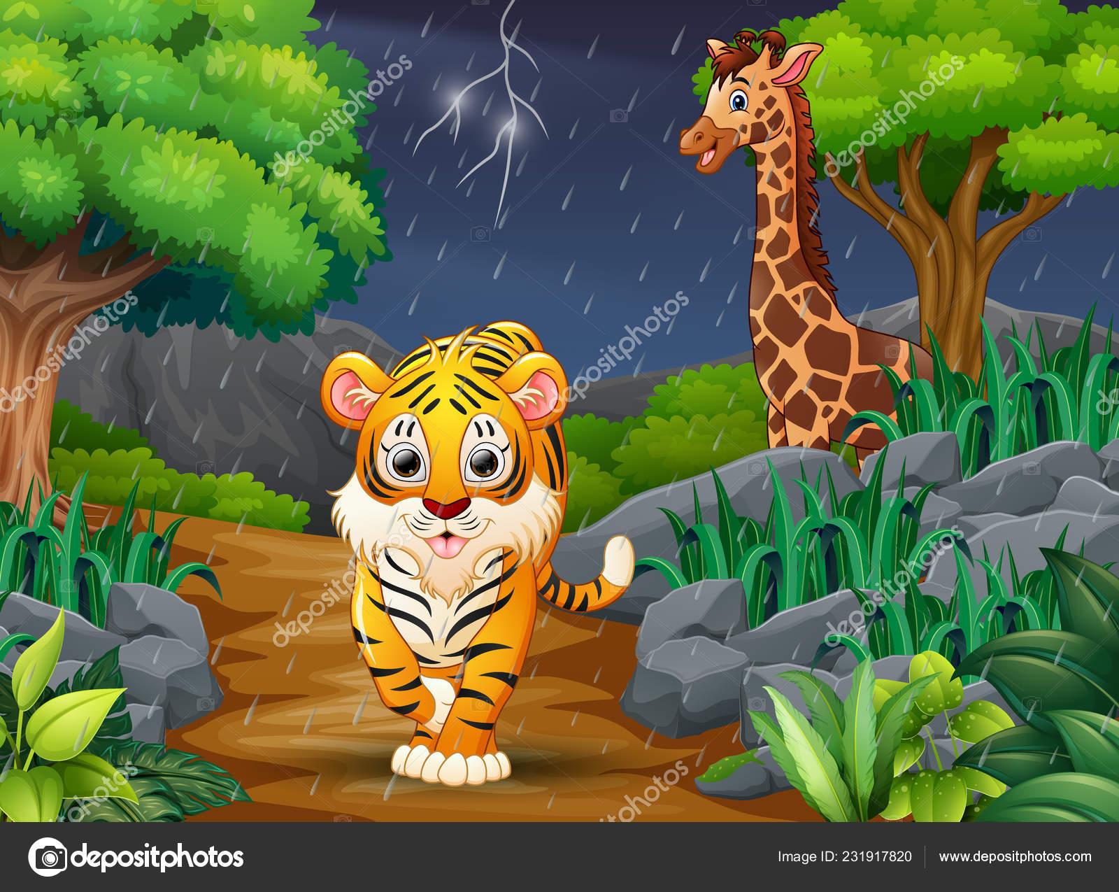 Carta da parati gli animali nel bosco illustrazione vettoriale
