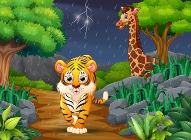 Cartoon a tiger and giraffe in a forest under the rain