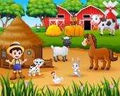 Fotografie Farmer and farm animal in the farmyard