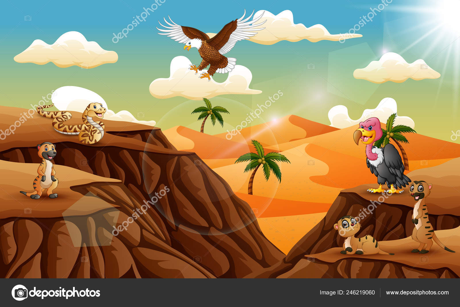 Cartoon Animal Desert Background Stock Vector C Dualoro 246219060