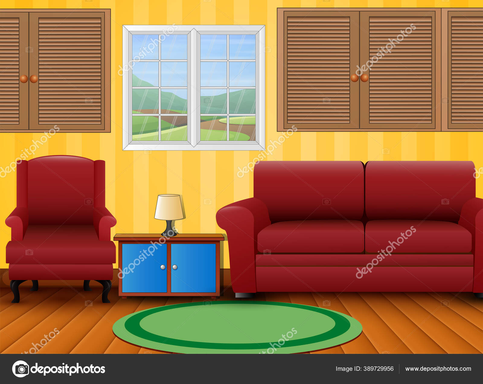 Picture of: Red Sofa Set Side Table Room Stock Vector C Dualoro 389729956