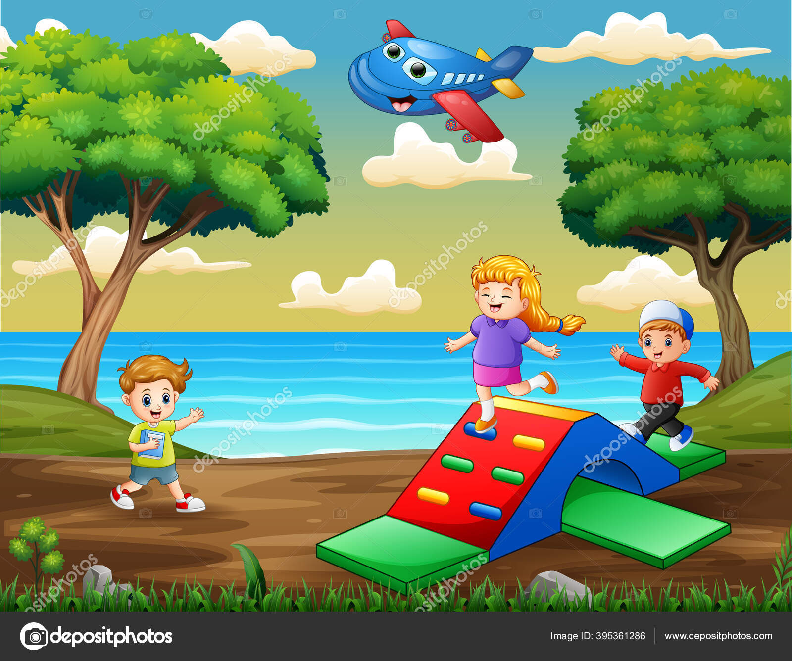 Gambar Ilustrasi Taman Bermain Anak Anak Bahagia Bermain Taman Bermain Stok Vektor C Dualoro