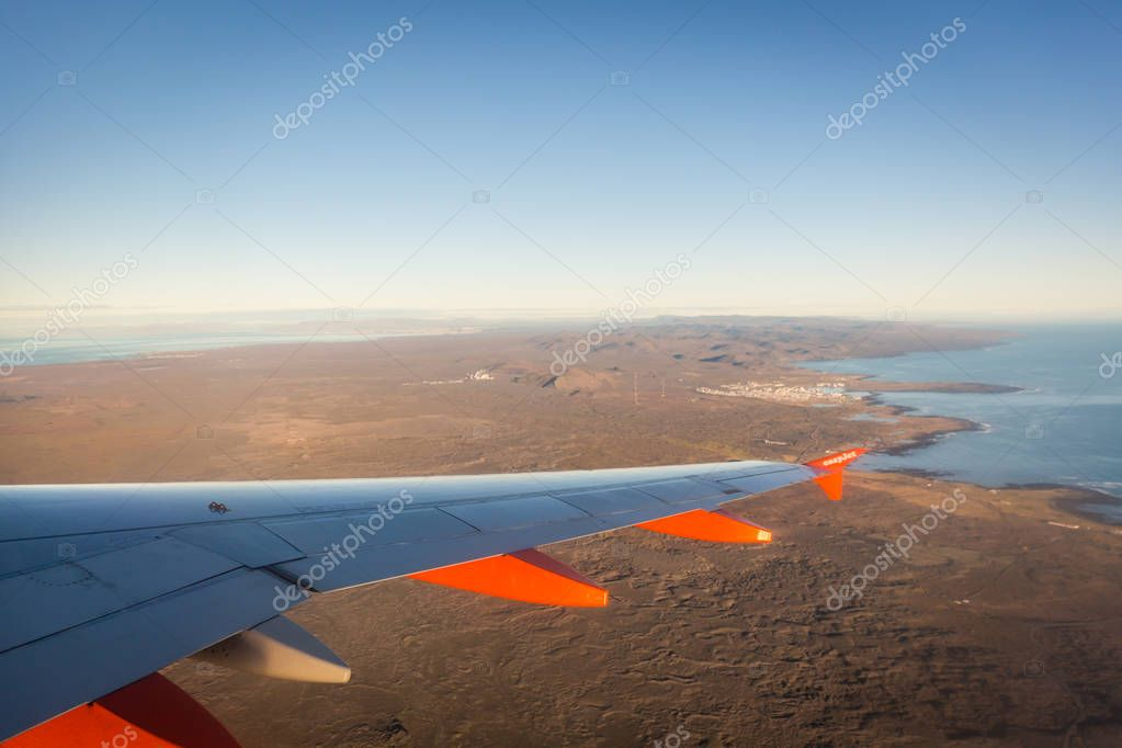Iceland - Oct 18th 2017 - An easyjet airplane arriving in the international airport of Iceland
