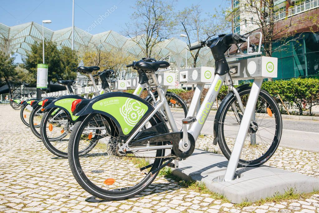 Portugal, Lisbon 29 april 2018: city bicycles or alternative ecological public transport