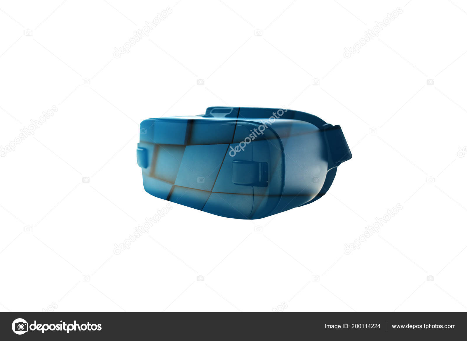 27c63e136806 Virtual reality glasses or VR glasses with visual effects on a white  background. The technology