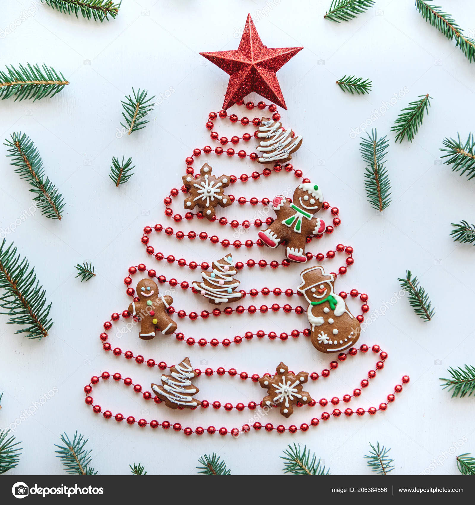 A Star For Christmas.A Christmas Tree Made Of Beads Decorated With Traditional
