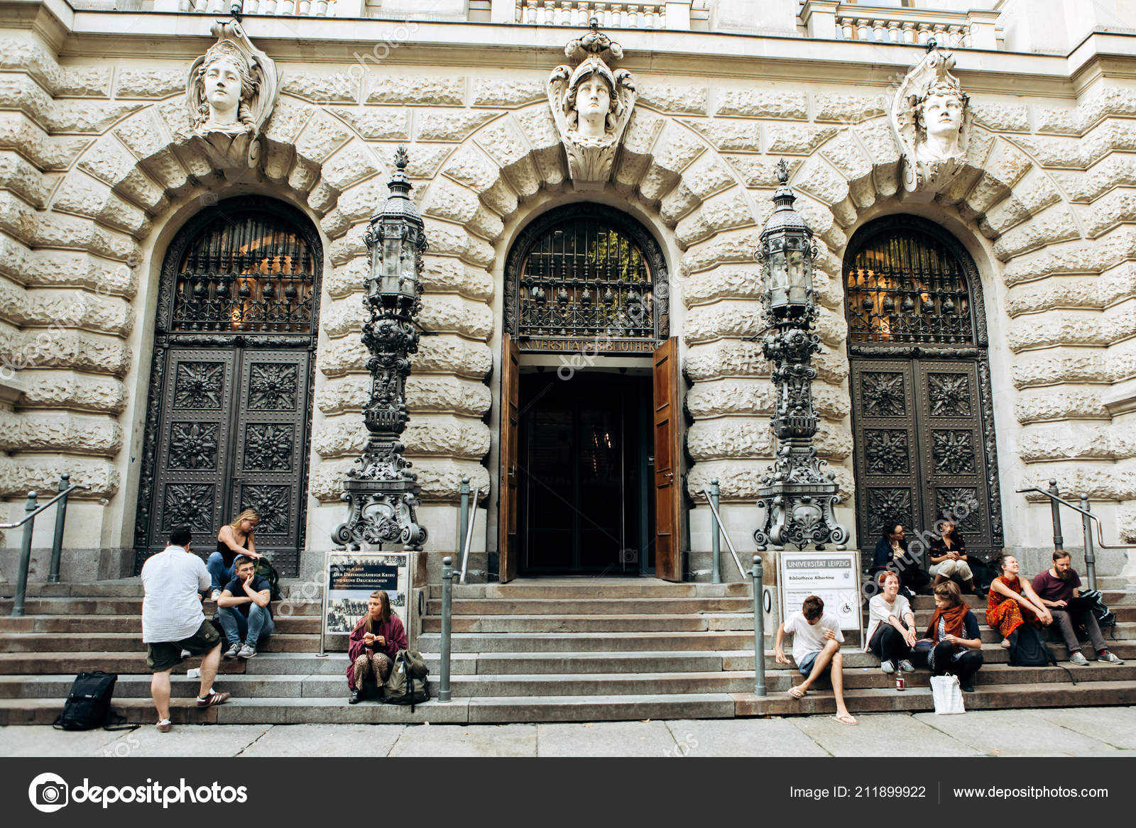 Entrance To The Library Of The University Of Leipzig Stock Editorial Photo C Fransz 211899922