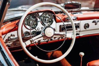 Interior of the german classic vehicle Mercedes-Benz 190SL. Retro design car.