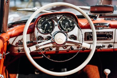 Interior of the german classic vehicle Mercedes-Benz 190SL. Retro design car.