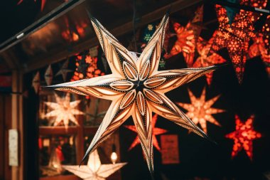 A close-up star is on sale at the Christmas market in Berlin, Germany.