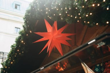 Decoration of a shopping stall in the Christmas market in Berlin