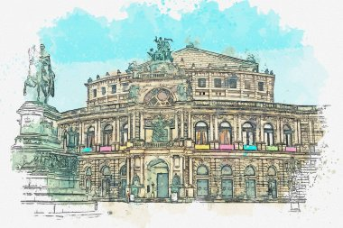 A watercolor sketch or illustration. Opera Semper in Dresden in Germany