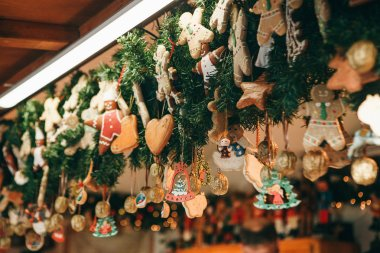 Christmas decorations. Various gingerbreads and other decorations on a Christmas tree