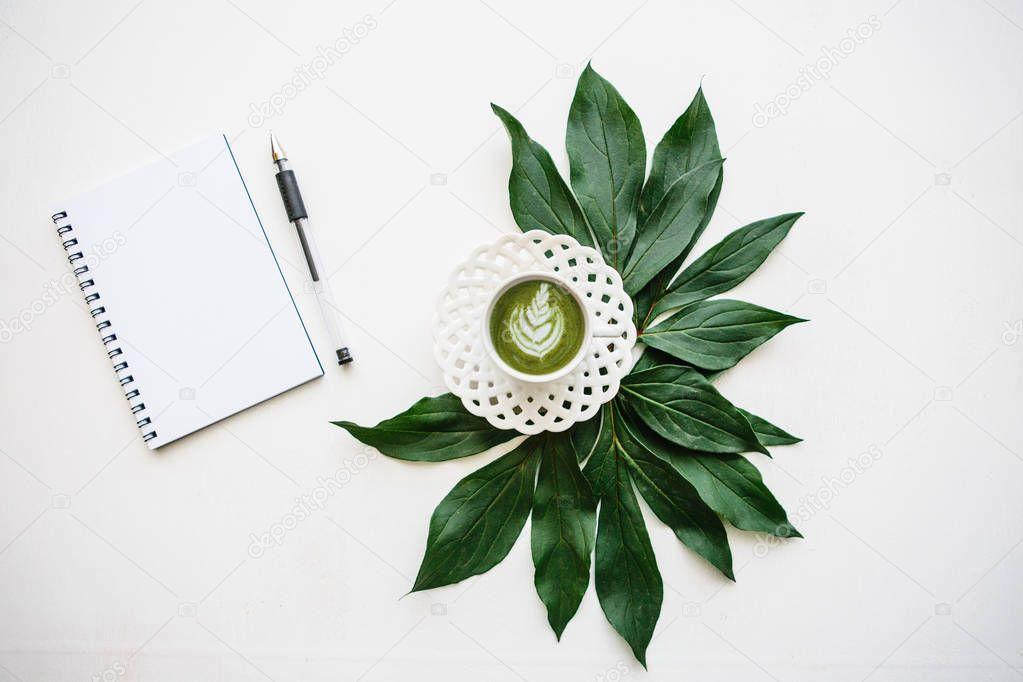 Fresh useful green matcha latte coffee.