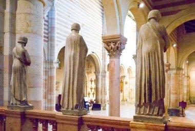 Verona, Italy - December 6, 2013: St. Zeno Basilica, statues of the presbytery above the crypt