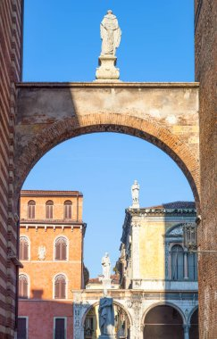 Italy, Verona,  the ancient palaces and statues of Dei Signori square