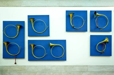 Lisbon, Portugal - March 27, 2009: Hunting horns in the National Museum of Coches (coach)