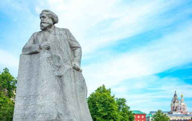 Russia, Moscow, the Karl Marx monument in the garden of the Bolshoi theatre