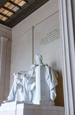 Washington, USA - October 12, 2017:  The monument to the Presidenr Abraham Lincoln in the Lincoln Memorial