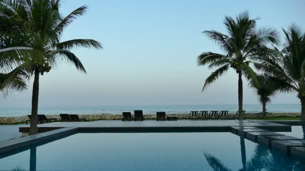 medencével és pálmafákkal teli Resort