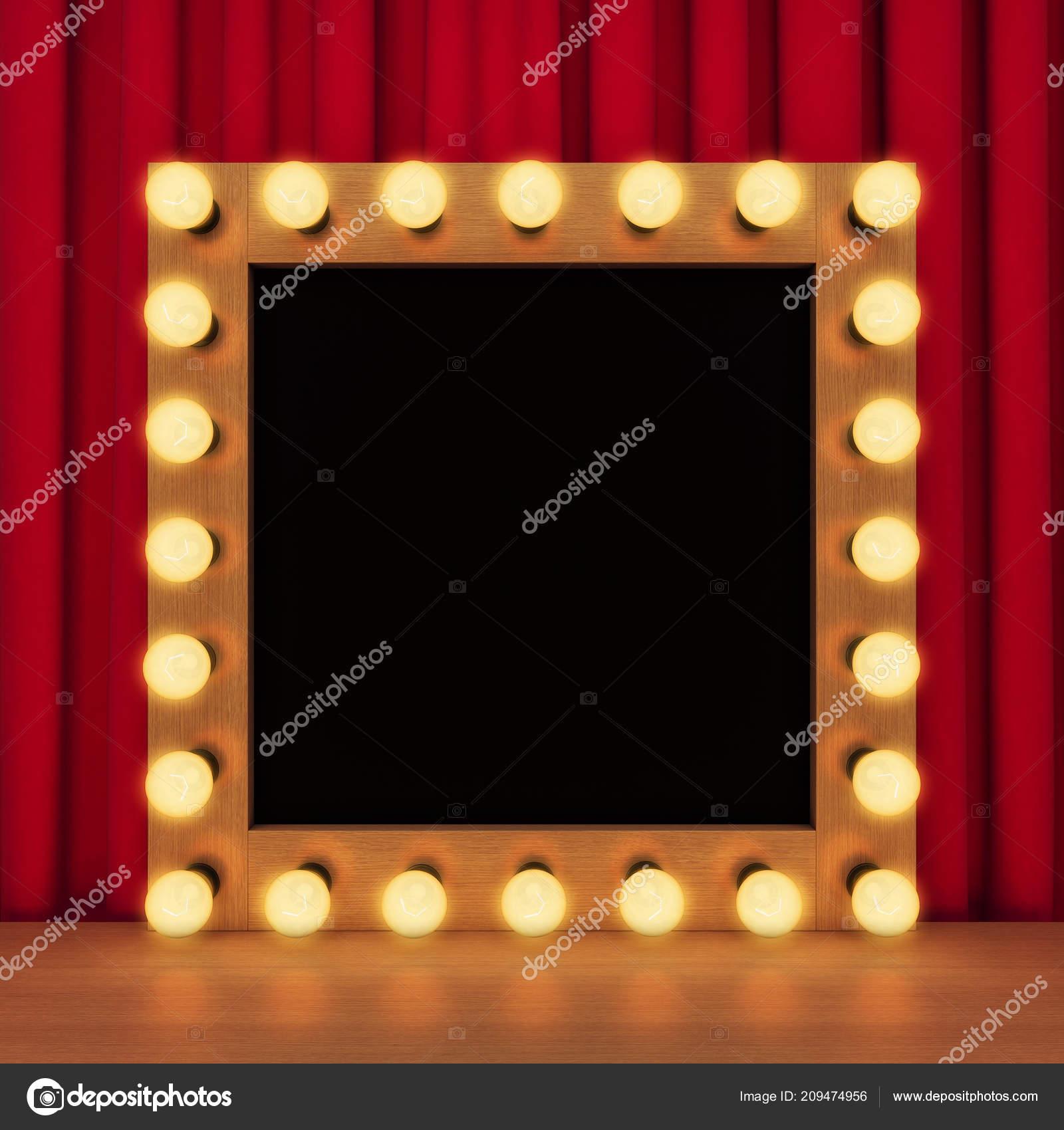 template retro toilet mirror light bulbs rendering stock photo
