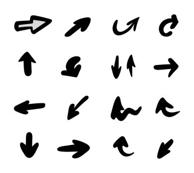 Vector set of hand-drawn arrows, elements for presentation icon