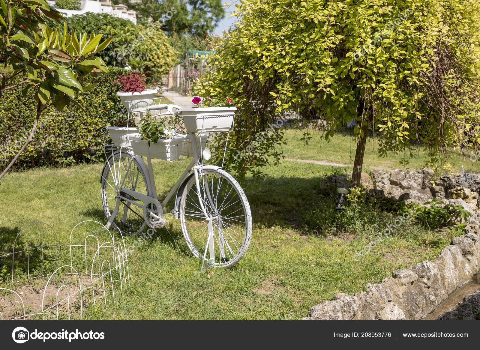 Vintage Blanc Vélo Avec Des Paniers Fleurs Dans Jardin Belle ...