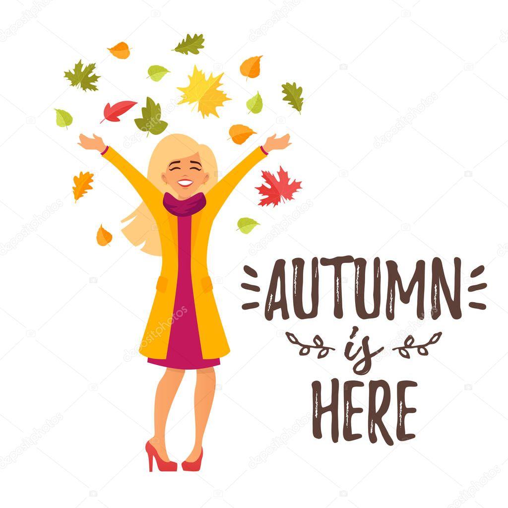 autumn design for season postcard
