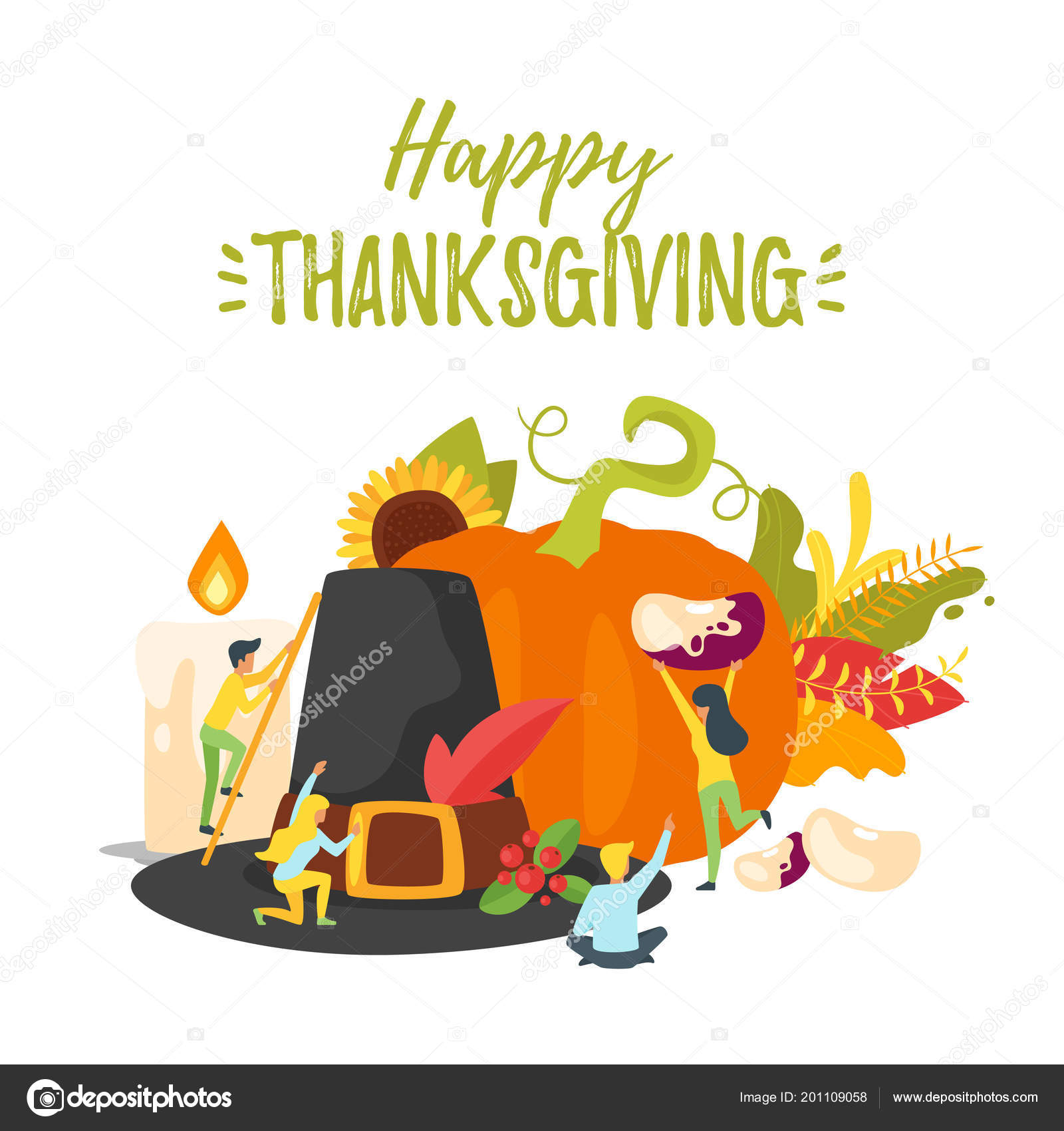 Thanksgiving Symbols With People Silhouettes Stock Vector