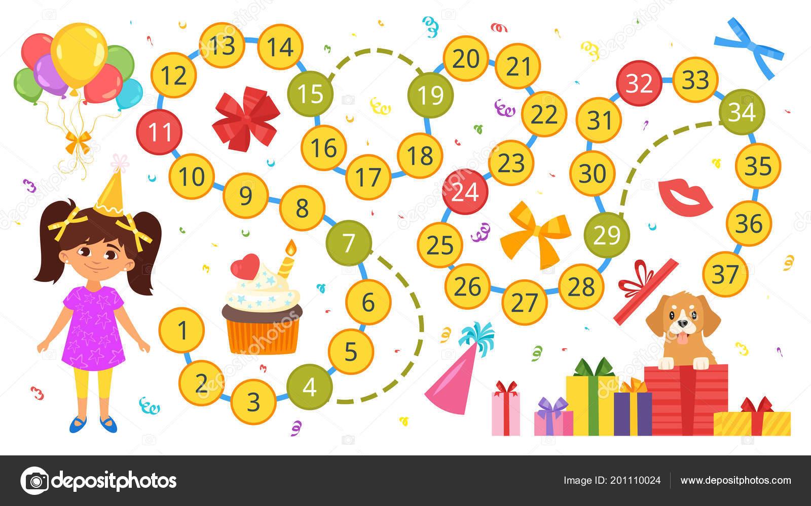 Alles Gute Zum Geburtstag Brettspiel Vorlage Stockvektor