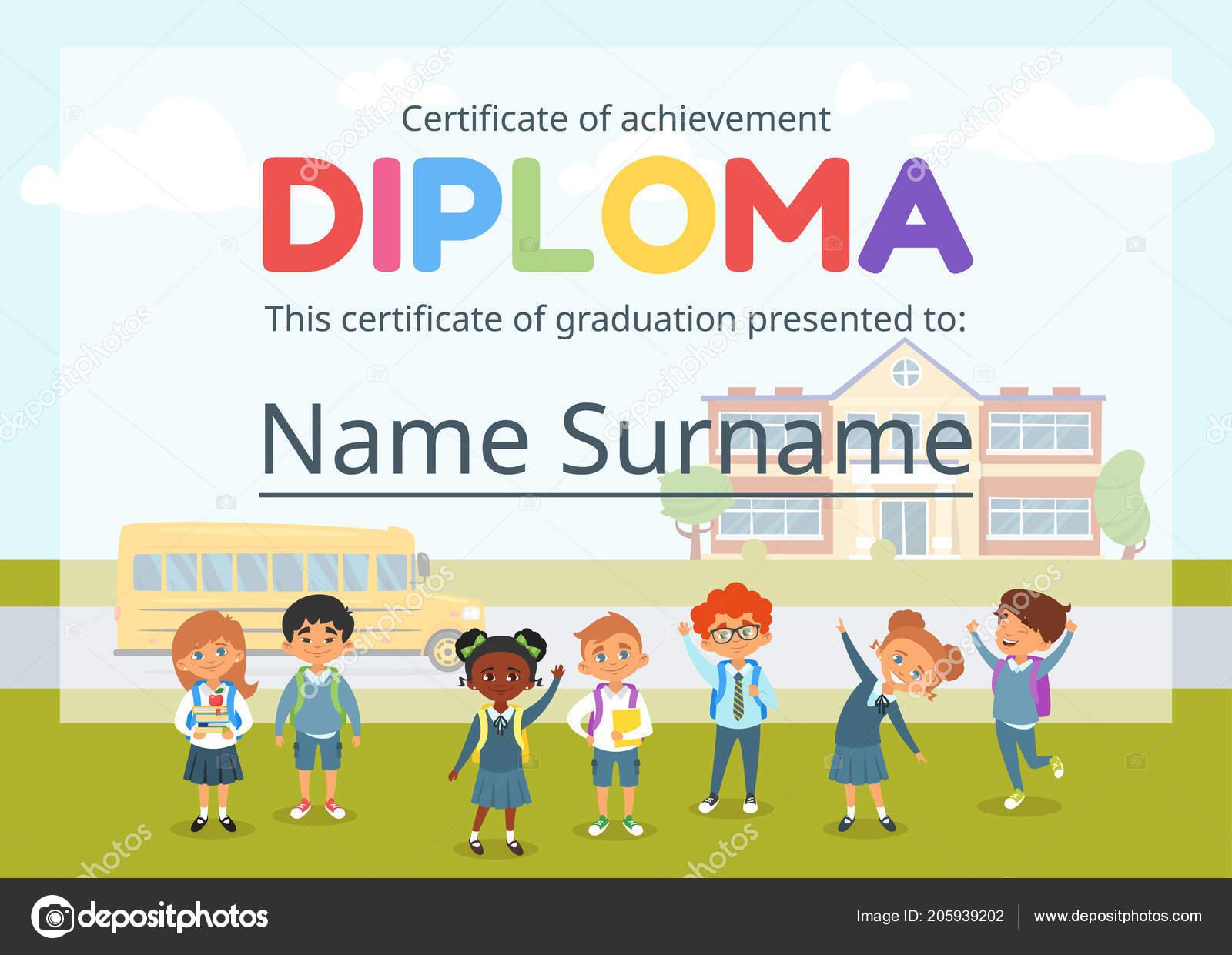 certificado de diploma de crianças para o pré escolar \u2014 vetores devetor desenho animado estilo modelo de layout para certificado de diploma de crianças para o jardim de infância ou pré escola
