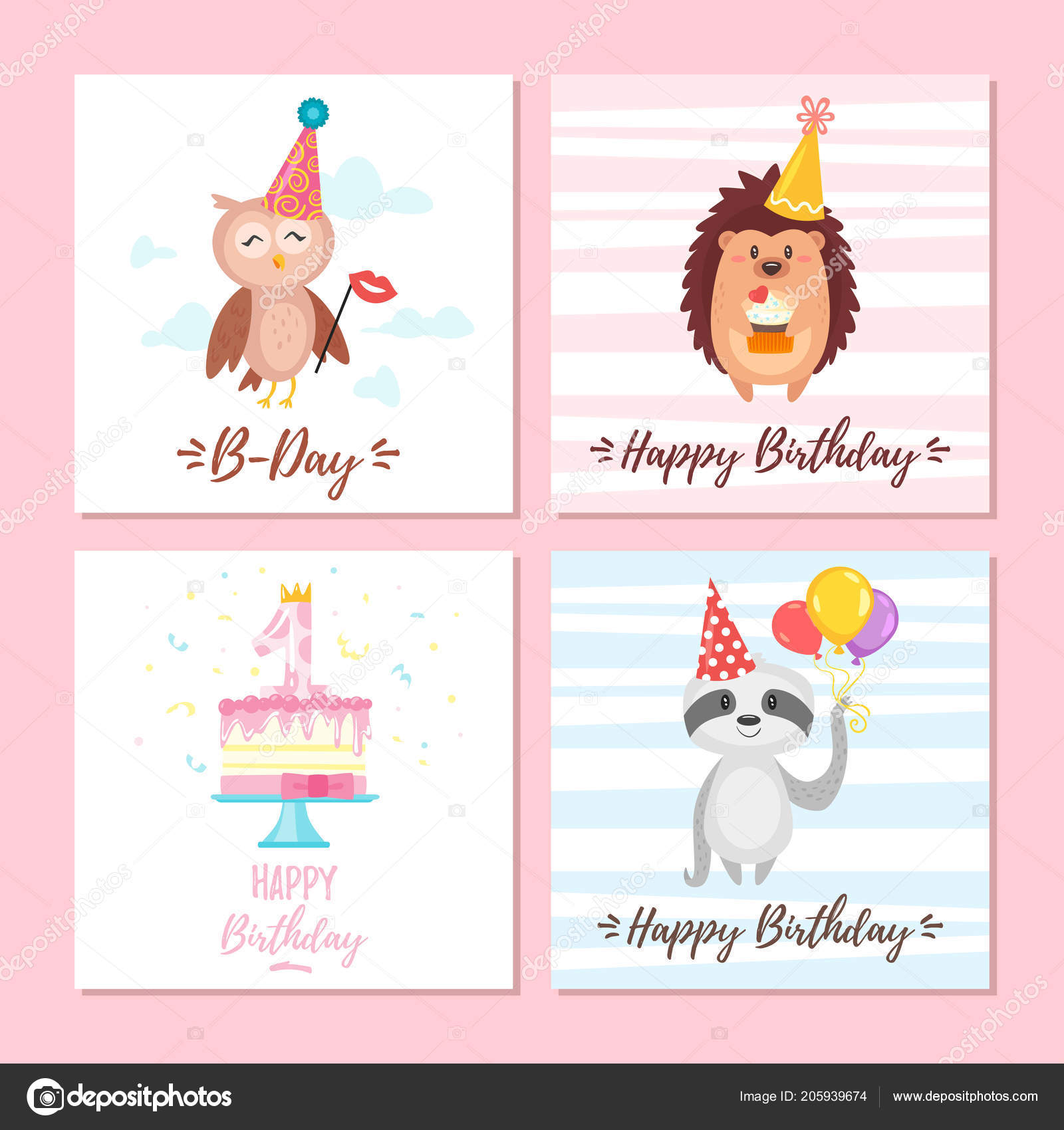 Birthday Greeting Cards Set Stock Vector Tkronalter9ail