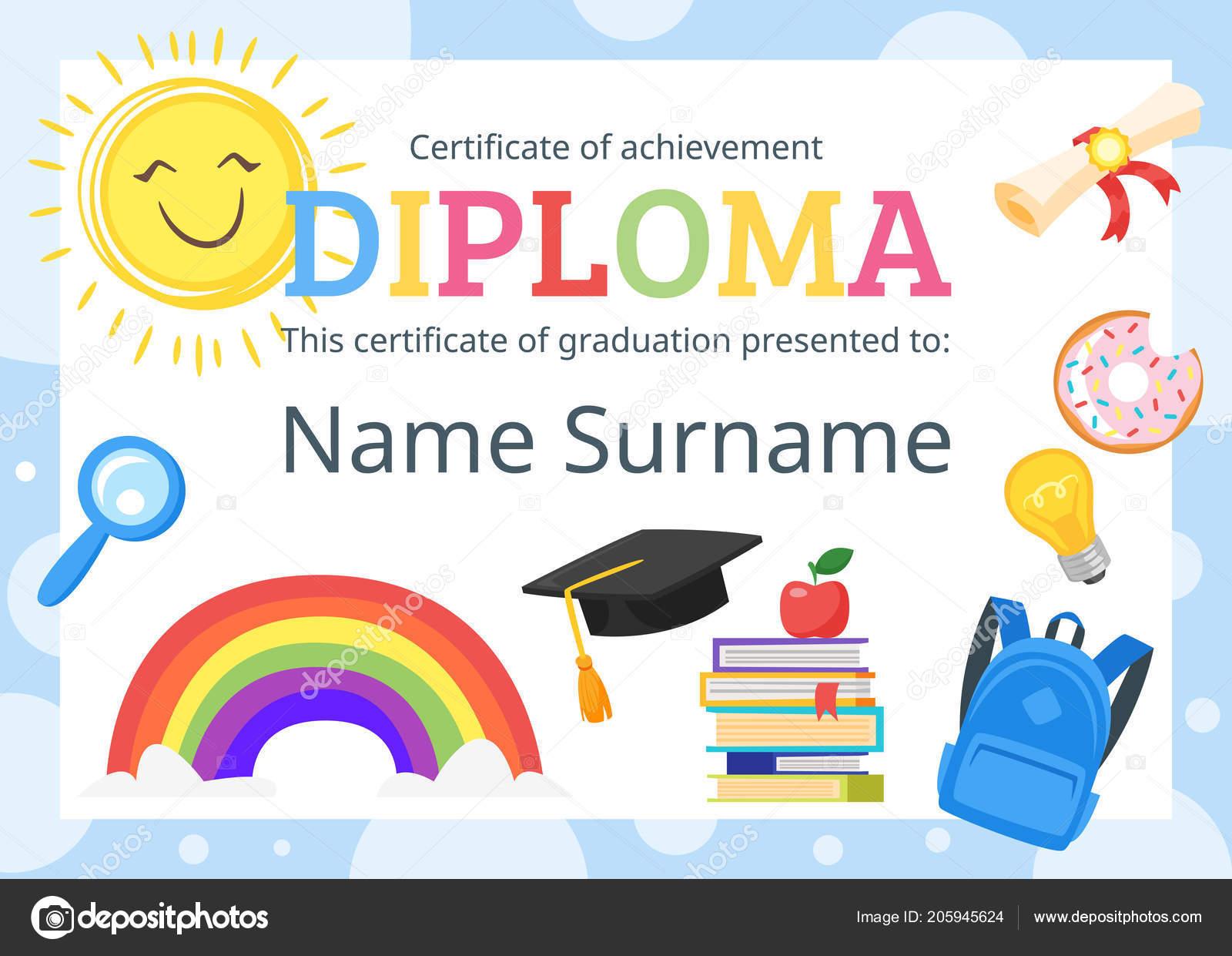 certificado de diploma de crianças para o pré escolar \u2014 vetor de