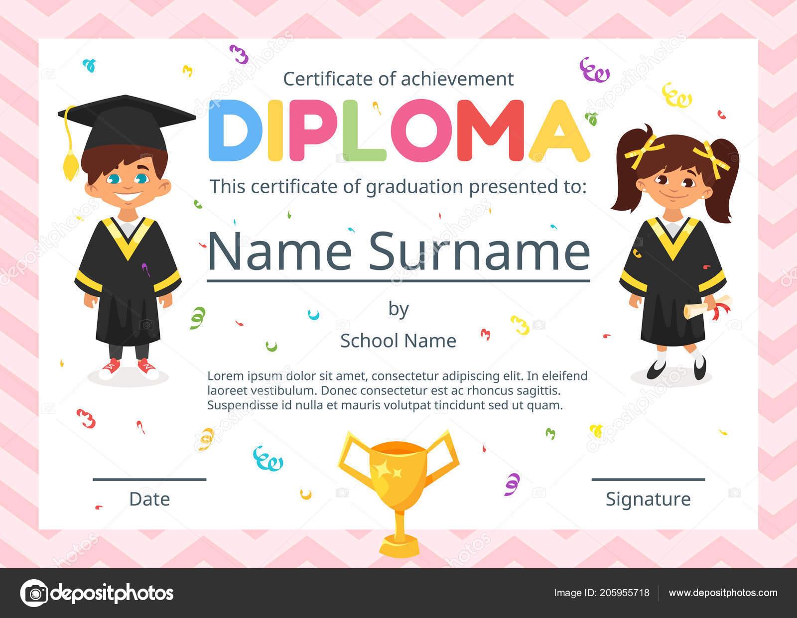 certificado de diploma de crianças para o pré escolar \u2014 vetores devetor desenho animado estilo modelo de layout para certificado de diploma de crianças de jardim de infância, escola ou pré escola