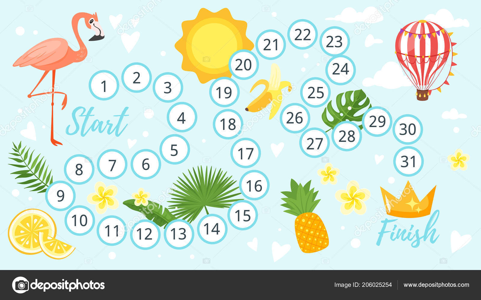 Summer Board Game Template Stock Vector Tkronalter9ail