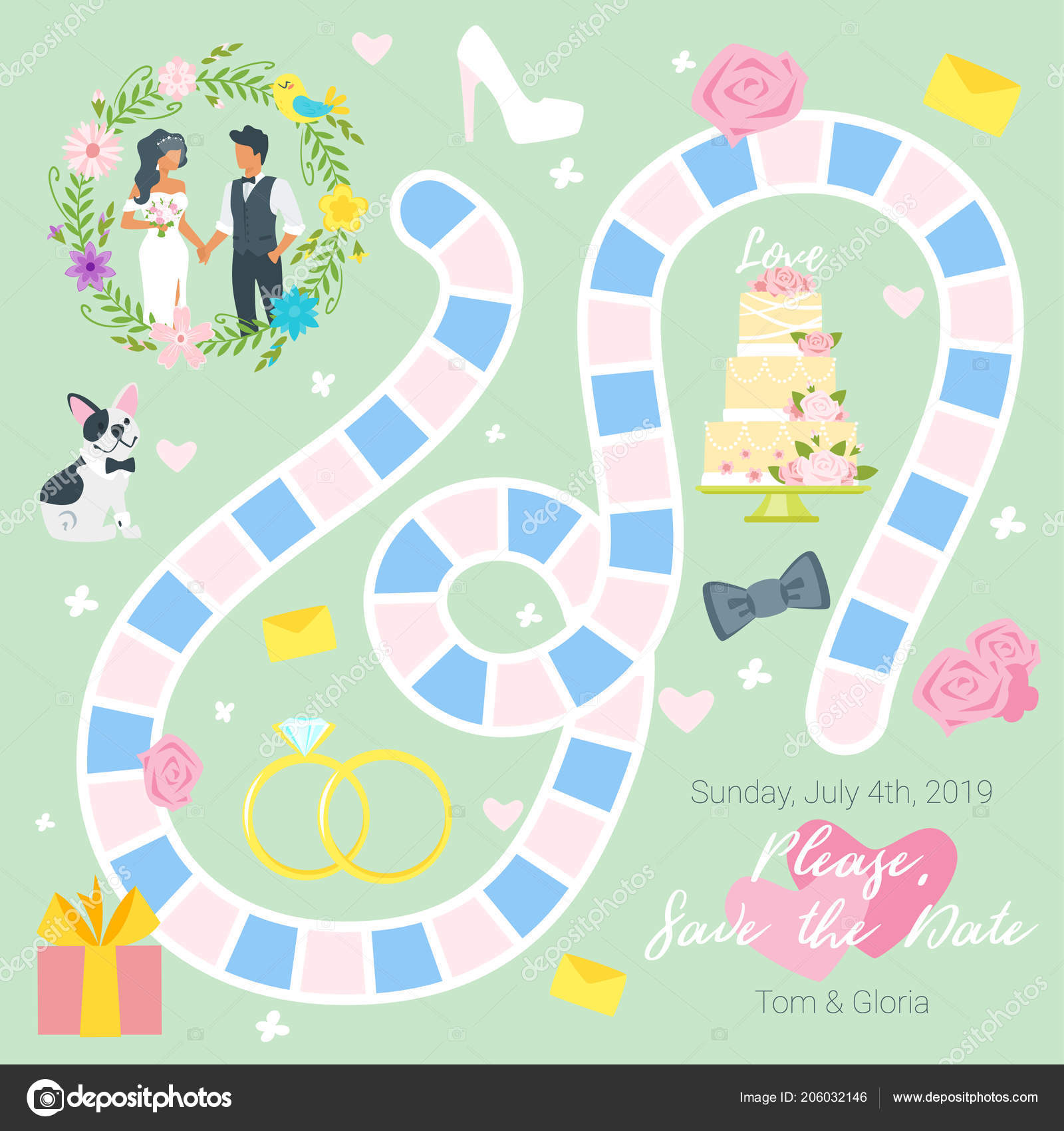 wedding board game template stock vector tkronalter9 gmail com