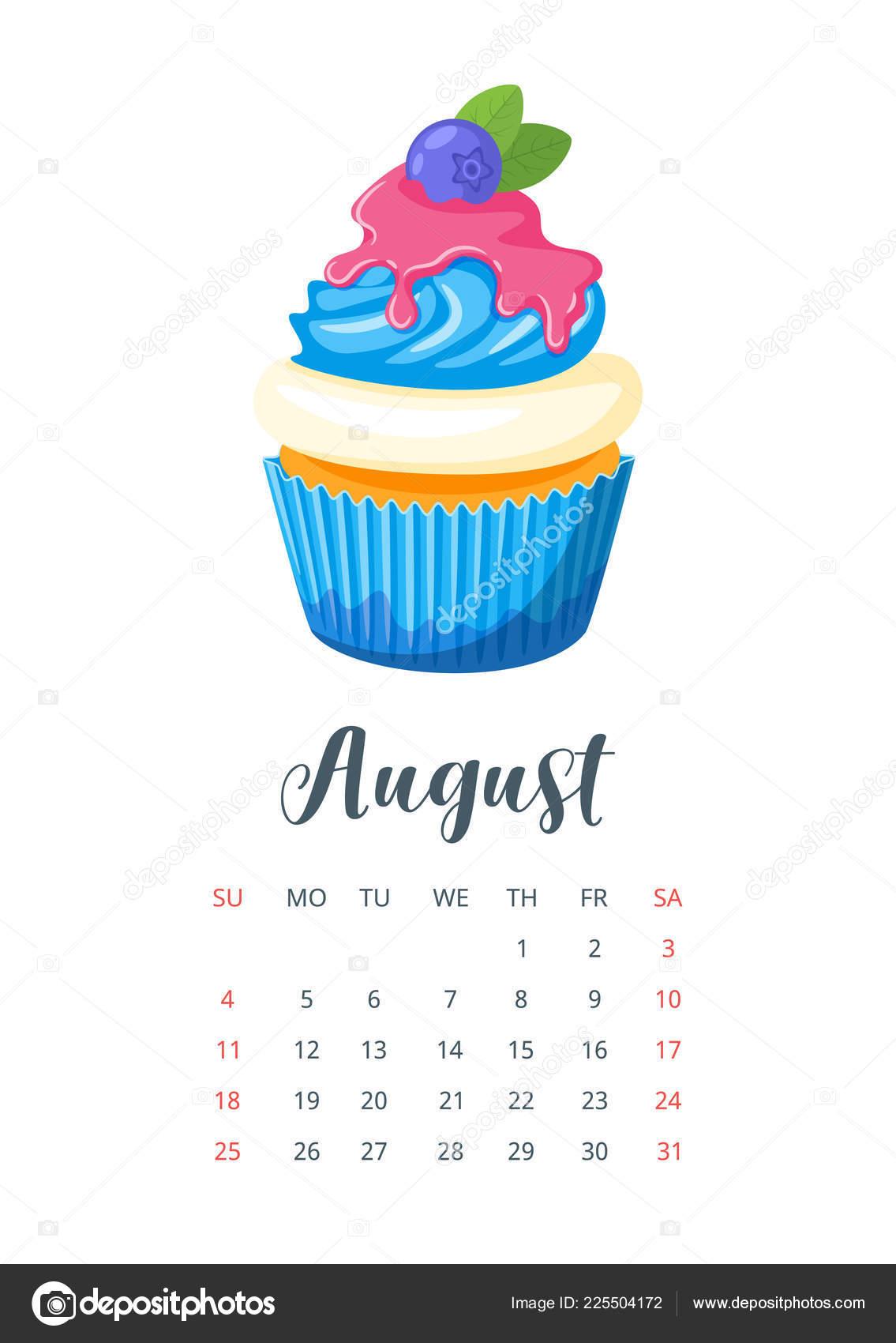 Calendario De Agosto 2019 Decorado.Calendario Ano 2019 Con Magdalena Vector De Stock