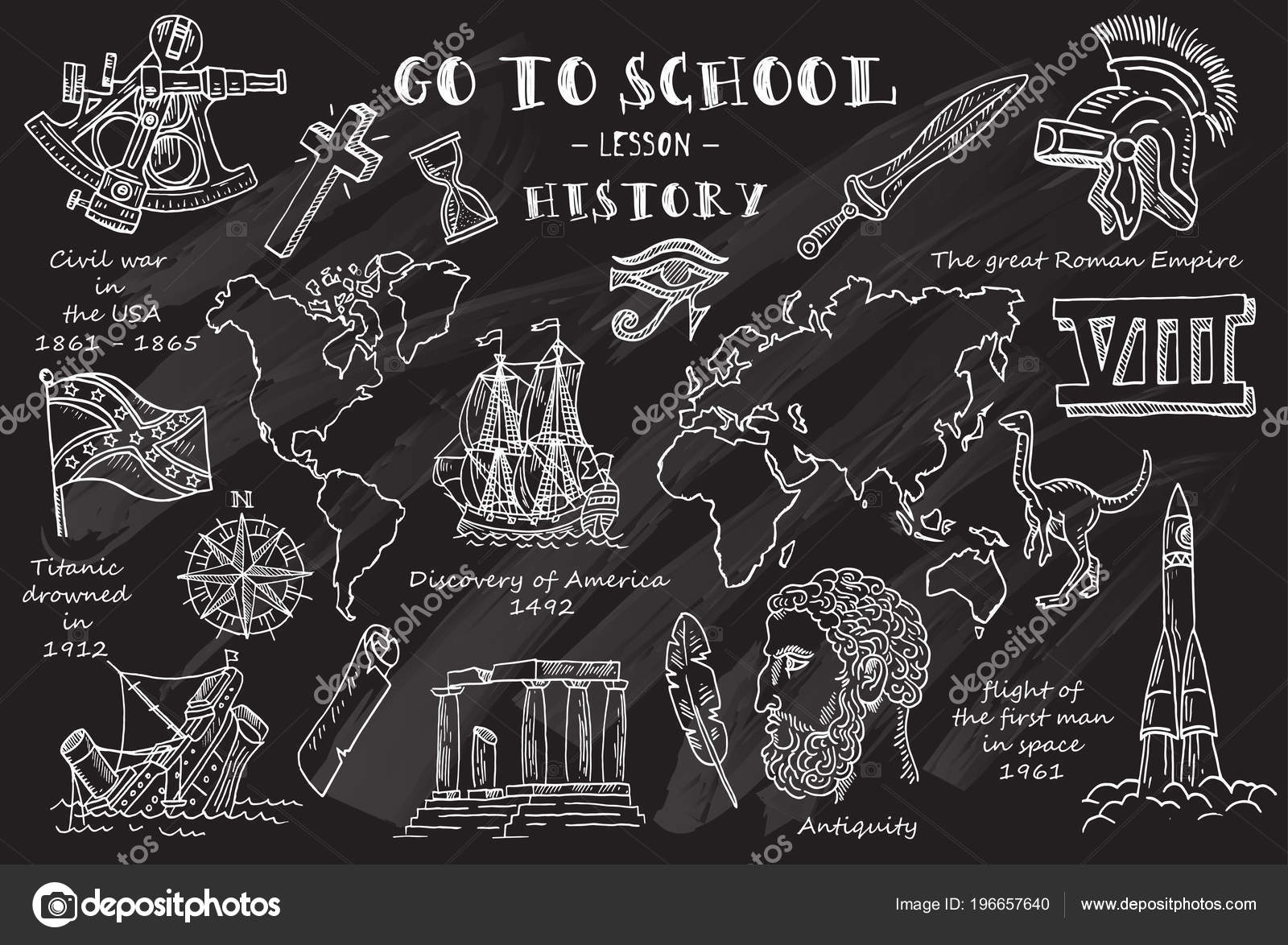 vector illustration design hand sketches theme history chalkboard