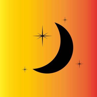 Moon & stars vector icon