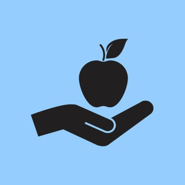 apple on hand, vector icon