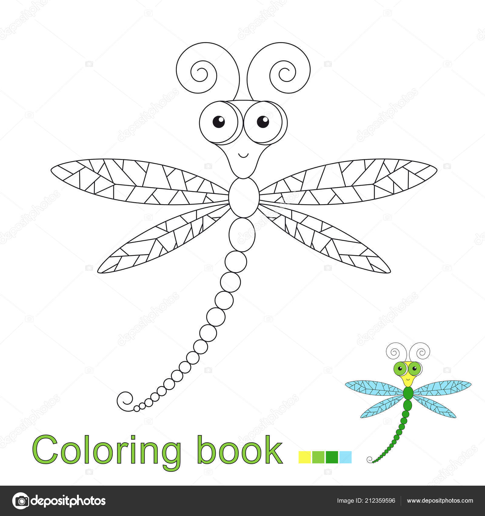 Vector Illustration Cute Flying Dragonfly Coloring Book