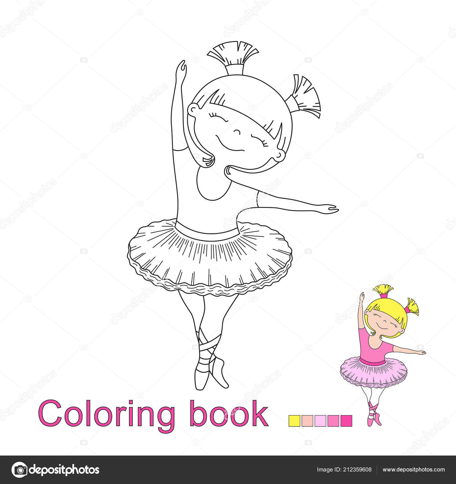 Coloriage Danseuse Ballet.Illustration Vectorielle Petite Danseuse Ballet Belle Fille Pour