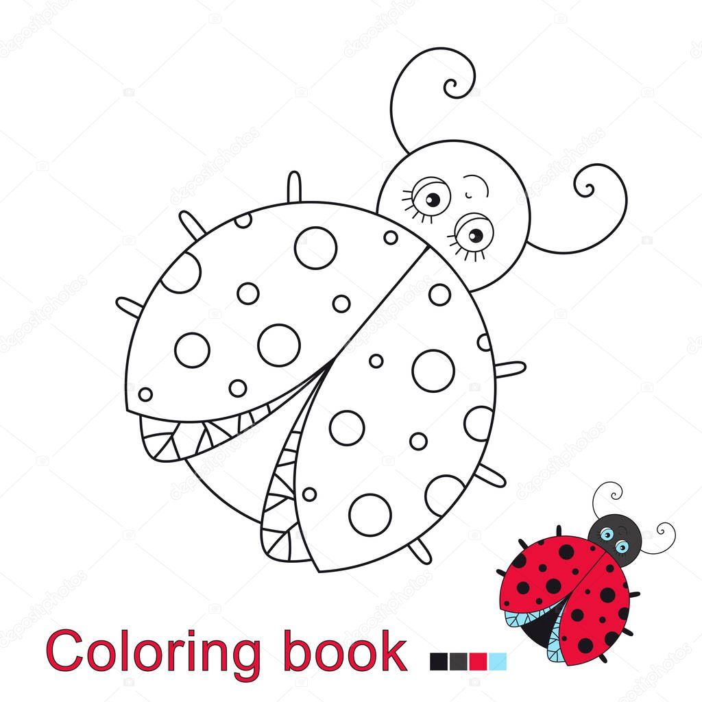Vector Illustration Funny Ladybug Coloring Book — Stock Vector ...