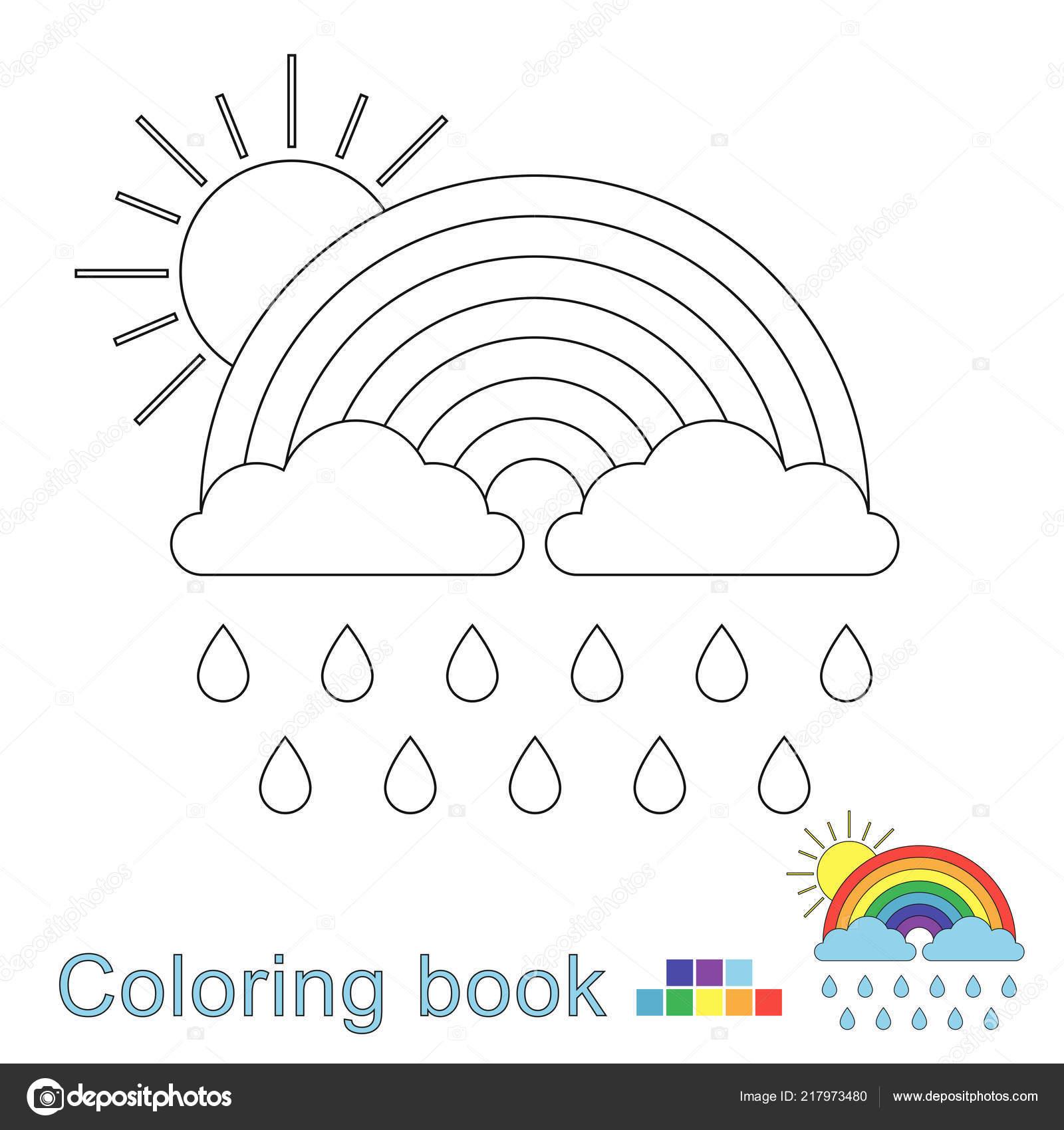 Ilustración Vector Arco Iris Las Nubes Las Gotas Lluvia Sol